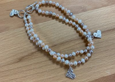Silver clay and pearl braclet