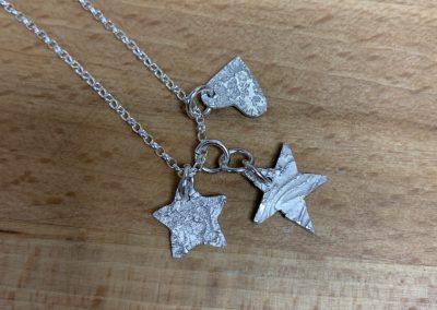Silver art clay charm pendant