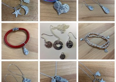 Selection of student work in silver clay