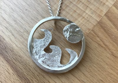 Textured pendant made on Beginners Silver Jewellery Making at Hampshire School of Jewellery in Basingstoke
