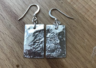 Textured drop earrings made on Beginners Silver Jewellery Making at Hampshire School of Jewellery in Basingstoke