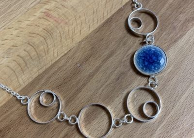 Blue ceramic circle necklace