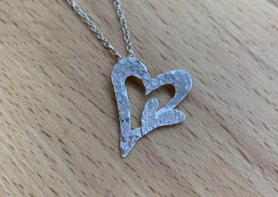 Double silver heart pendant