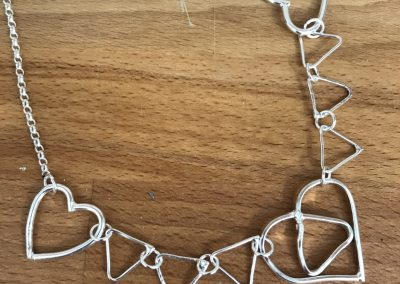 Silver link necklace made on Beginners Silver Jewellery Making at Hampshire School of Jewellery in Basingstoke
