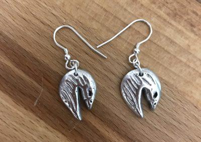 Silver clay bird earrings