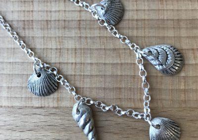 Silver art clay shell bracelet
