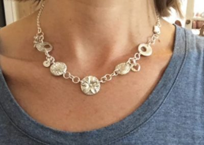 Silver clay charm necklace