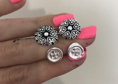 Silver clay studs