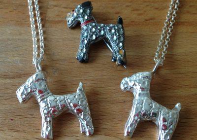 Silver clay dog pendants