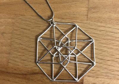 Geometric silver pendant