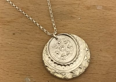 Silver art clay circle pendant