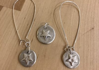 Silver art clay earrings and pendant