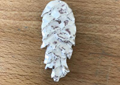 Silver clay pine cone pendant