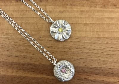 Silver art clay flower pendants