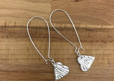 Silver clay heart earrings