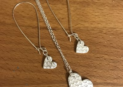 Silver clay earrings and pendant