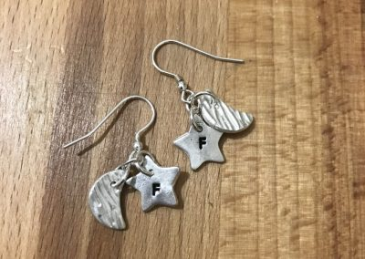 Silver clay earrings heart and moon