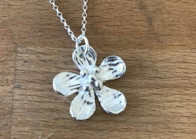 Silver art clay flower pendant