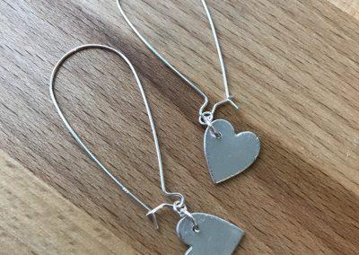 Silver clay heart drop earrings