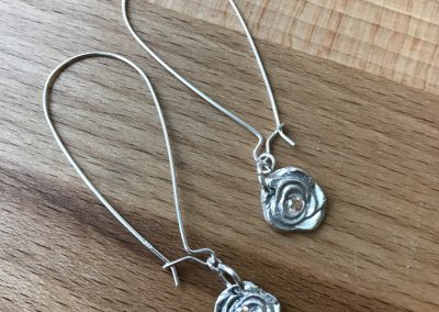 Silver clay rose earrings