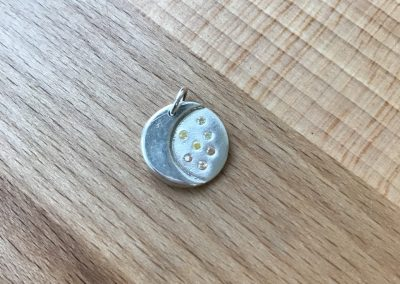 Silver art clay moon and stars pendant