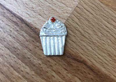 Silver clay cupcake pendant