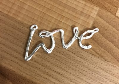 Silver clay love pendant