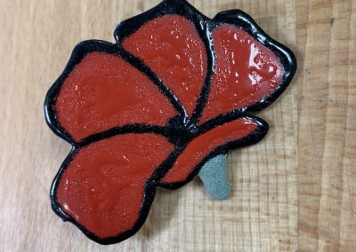Red poppy brooch